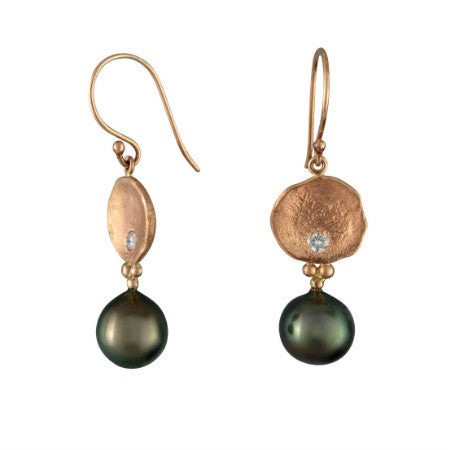 Sand Sea rose gold pearl sandcast earrings Beach Ocean Wave Inspired Sustainable Jewellery eco friendly