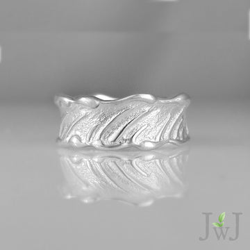 Wheat Grass Ring White Gold Sandcast