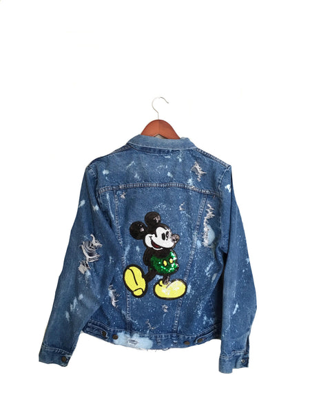 mickey mouse sequin jean jacket
