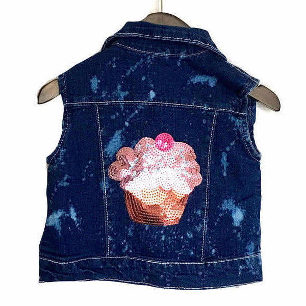 girls sequin cupcake jean jacket vest acid wash