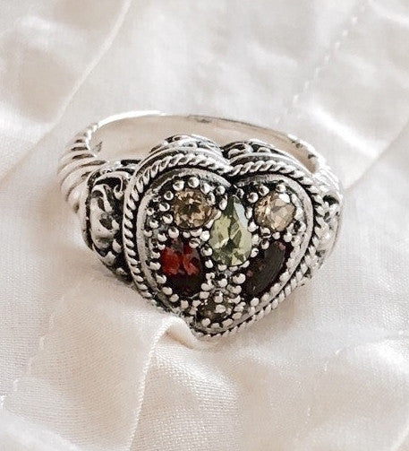 sterling heart ring multi gemstone colorful