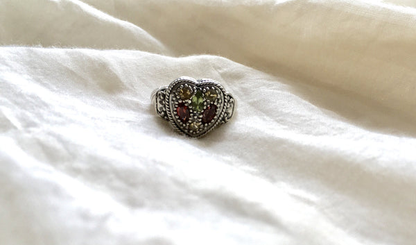 Sterling Heart Ring in Garnet, Citrine and Peridot