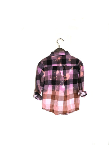 Toddler Ombré Flannel in Lavender Peach Plaid