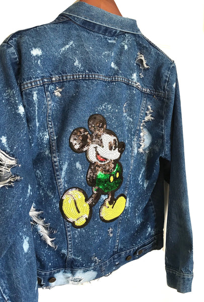 disney jean jacket distressed sequin mickey mouse