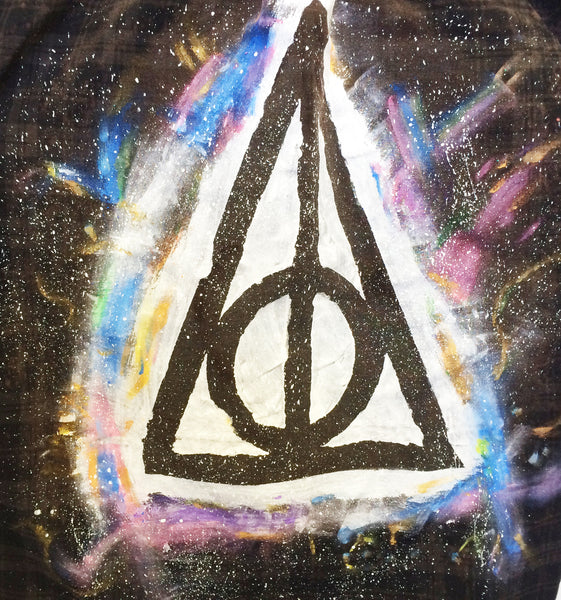 Deathly Hallows Shirt - Hand Painted and OOAK Harry Potter Top