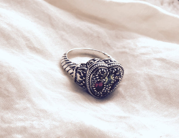 bali heart ring sterling silver