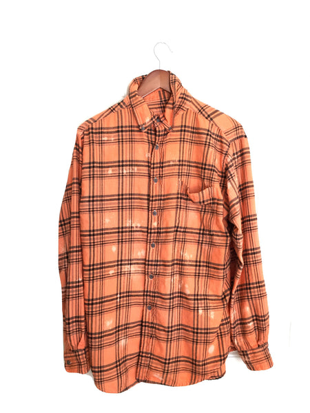 Edgar Allan Poe Shirt in Orange/Black Plaid Flannel