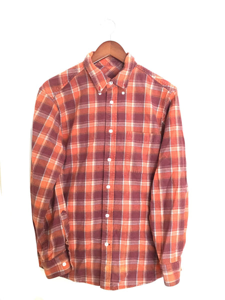 "Beauty and the Beast Shirt in Burgundy/Orange Plaid Flannel, ""Tale as old as time..."""