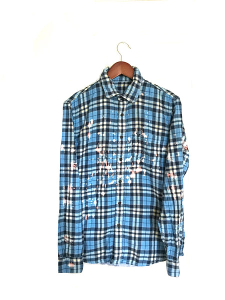 Lost in Wonderland Shirt in Alice Blue Plaid Flannel