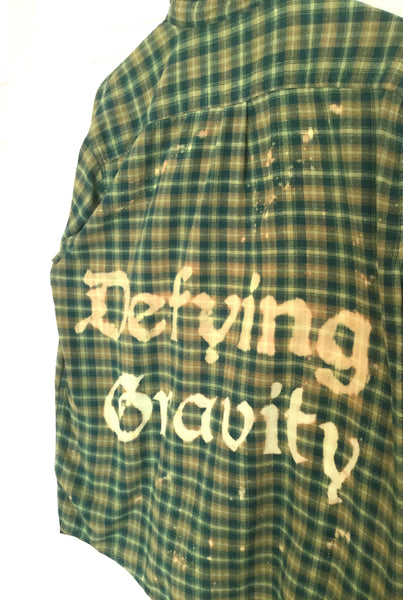 defying gravity plaid flannel shirt hipster green