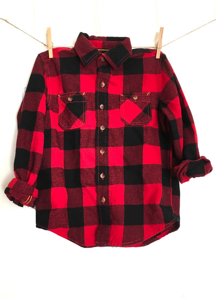 Kids' Disney Shirt in Red Plaid Flannel
