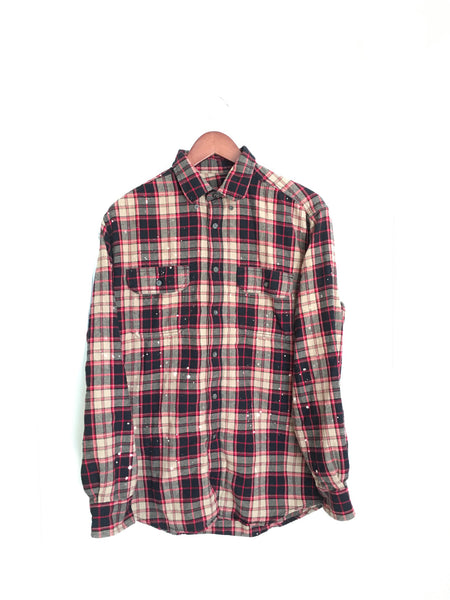 Peter Pan Shirt in Beige/Black/Red Plaid Flannel