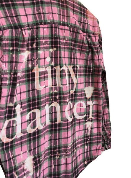 hipster pink flannel bleached shirt