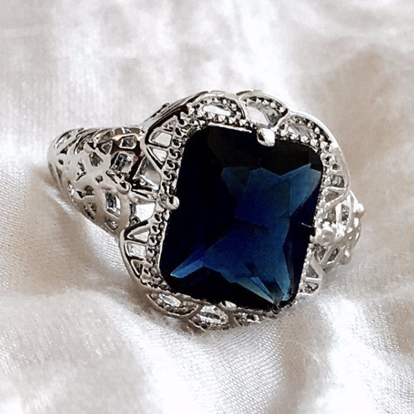 sterling edwardian ring victorian blue sapphire reproduction