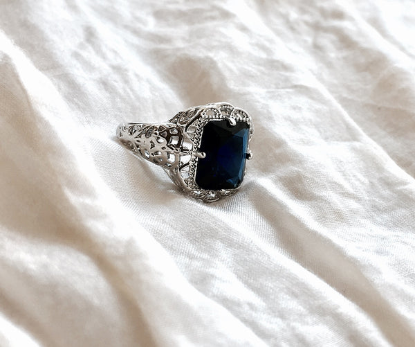 Edwardian Sterling Ring in Blue Sapphire