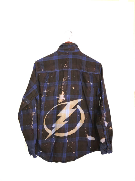 Lightning Plaid Flannel Shirt in Electric Blue