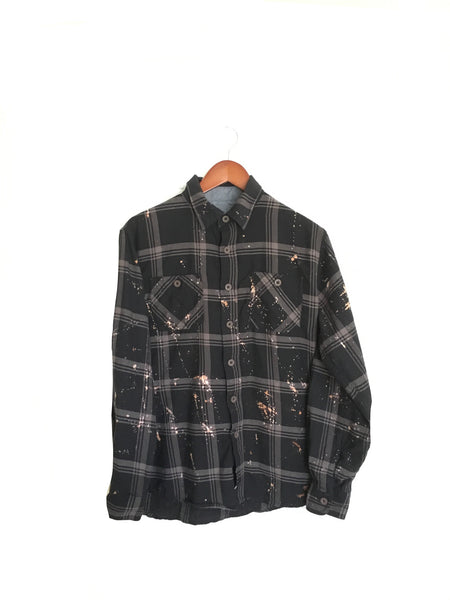 Great Gatsby Shirt in Black Plaid Flannel