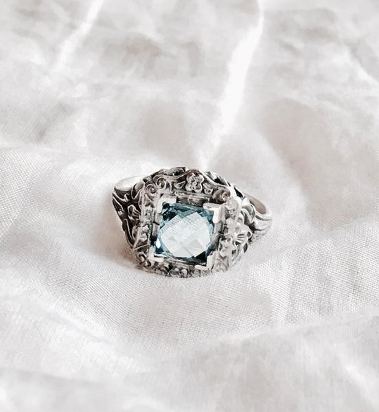 Victorian Sterling Ring in Swiss Blue Topaz.