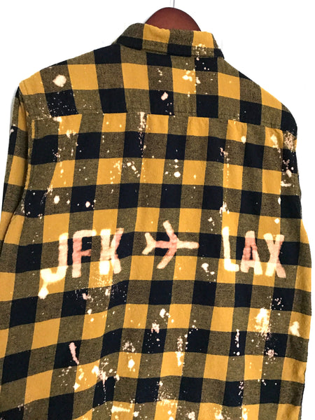JFK to LAX Plaid Flannel in Gold