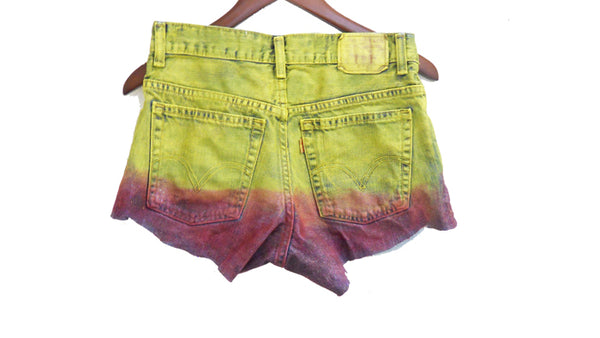 Ombre Jean Shorts, Yellow & Red, High Waisted, Painted, Studded