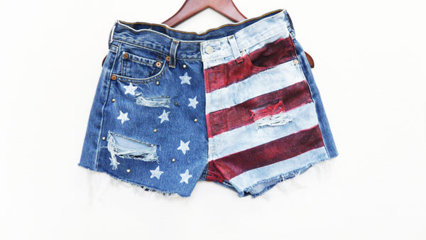 American Flag Shorts, High Waisted, Fourth of July, Patriotic