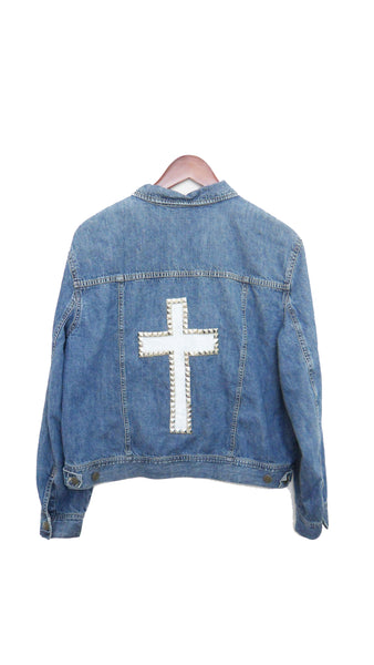 Studded Cross Jacket, Denim - Hand Painted White Cross with Metal Studs
