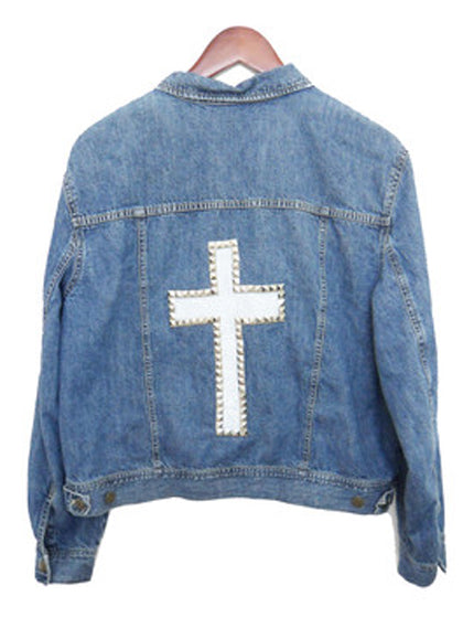 studded cross jacket denim jean white painted