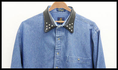 spiked leather collar denim hipster shirt