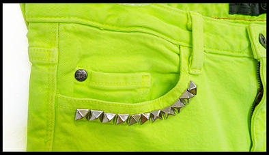 Neon Skinny Jeans in Yellow, Studded