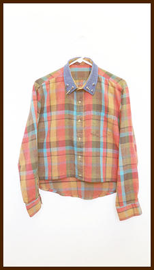 Spiked Flannel Shirt w/ Denim Collar - Orange Plaid and Hi/Low Cropped
