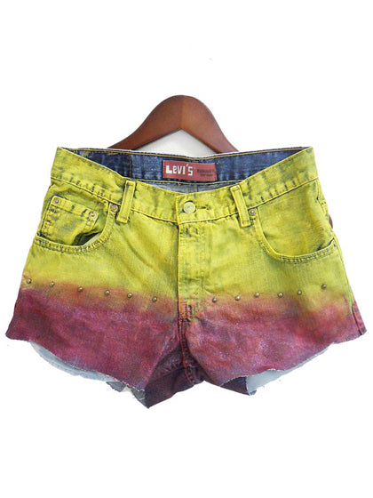 ombre jean shorts yellow red