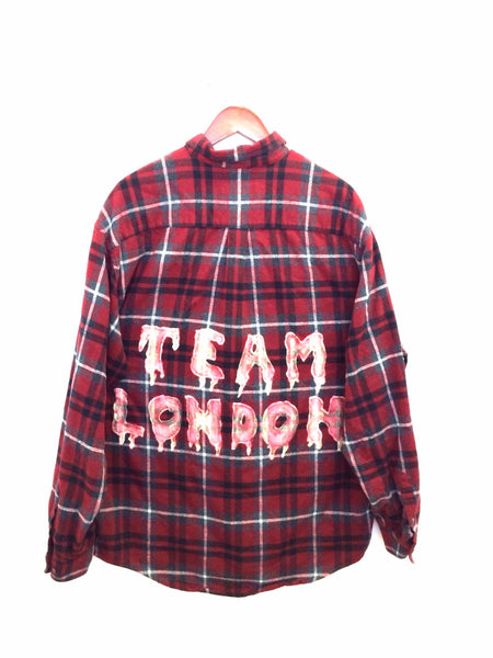 team london shirt plaid flannel red grunge