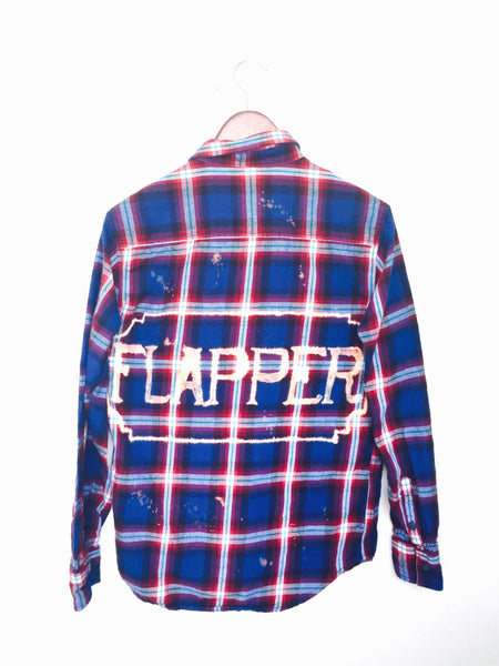 hipster flapper plaid flannel bleached shirt