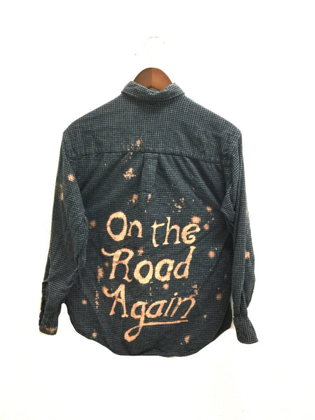 on the road again shirt blue plaid flannel