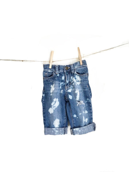 baby hipster jeans denim distressed bleach splatter