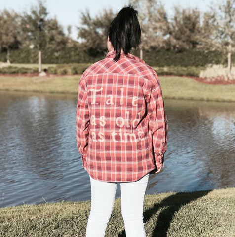 Tale as old as time plaid flannel shirt, beauty and the beast disney