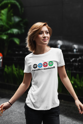 Entourage Logo T-Shirt of a young woman standing against a dark background with some plants