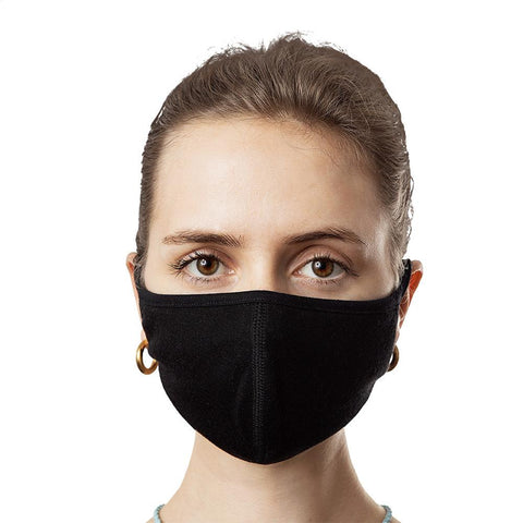 Face Mask Solid Black Front worn by Woman