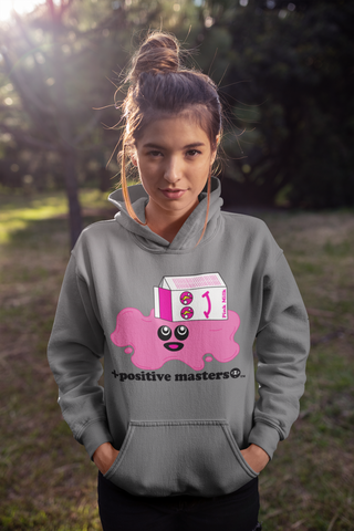 Spilled Pink Milk Logo Unisex Hoodie on a young woman with a cute messy bun hairstyle