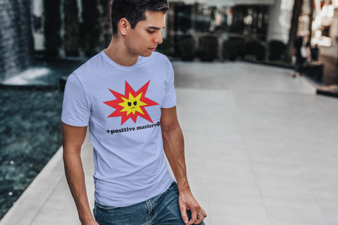 a man standing by a modern fountain wearing Angry Explosion Logo Unisex T-Shirt