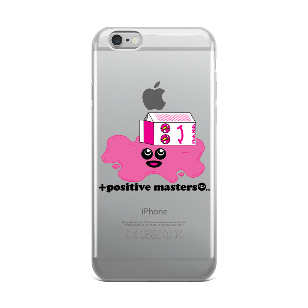 Spilled Pink Milk Logo Apple iPhone Phone Cases (Black Font)