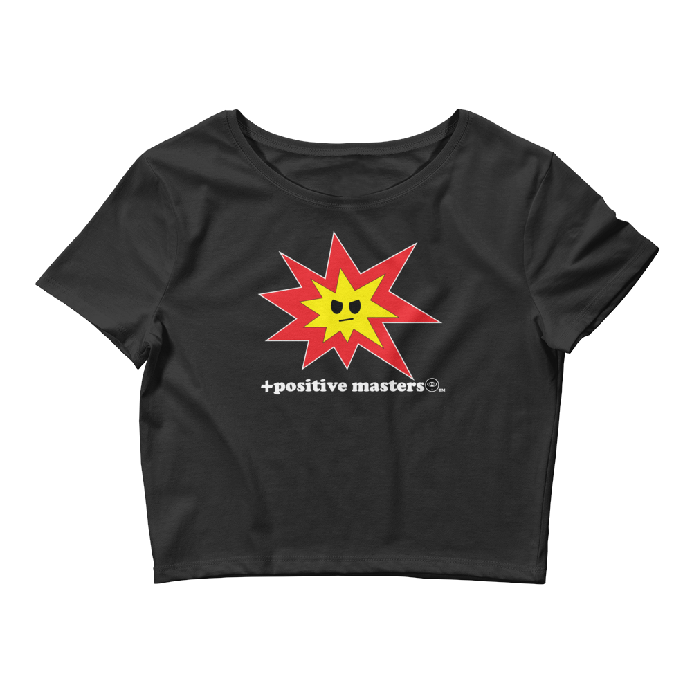 Angry Explosion Logo Dark Women's Crop Top T-Shirts