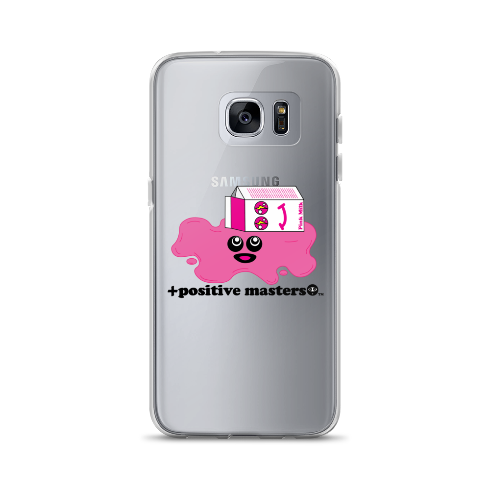 Spilled Pink Milk Logo Samsung Galaxy Phone Case (Black Font)