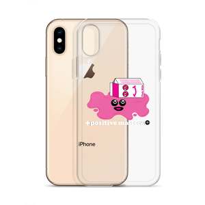 Spilled Pink Milk Logo Apple iPhone Case (White Font)