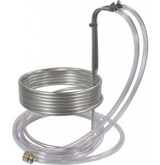 "25' Stainless Wort Chiller with Vinyl Tubing Ends - 3/8"" dia."