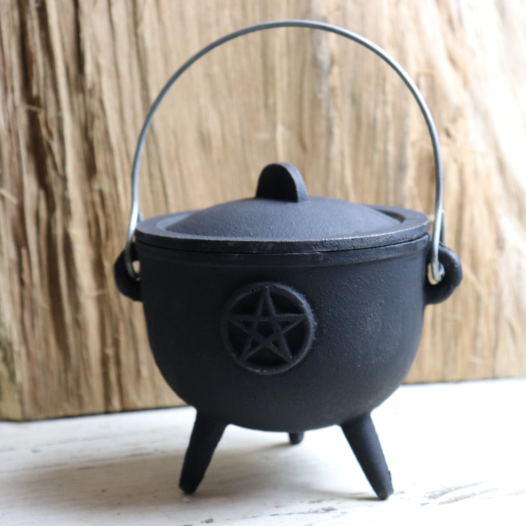 Large Pentacle Tripod Cast Iron Cauldron