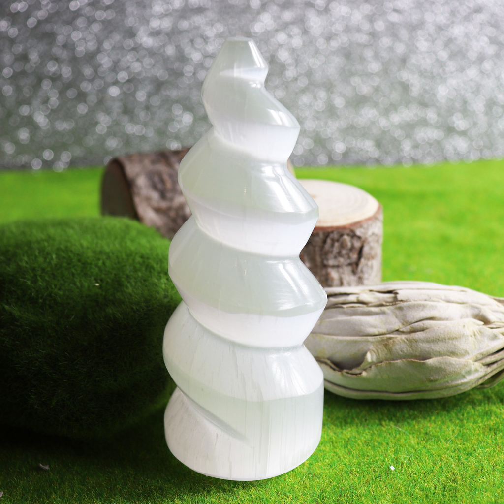 Selenite Spiritual Tower Unicorn Horn