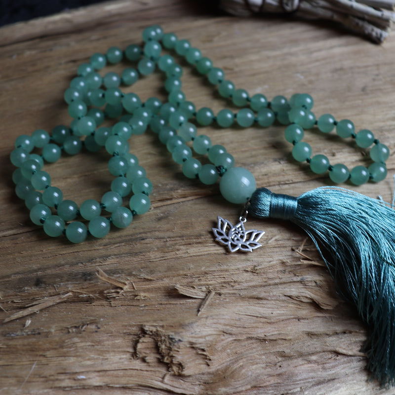 Comforting- 108 Green Aventurine Mala Beads Necklace