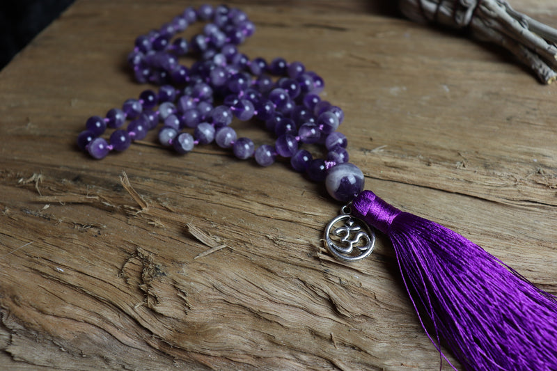Protection- 108 Amethyst Mala Beads Necklace