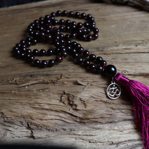 Clarity- 108 Red Garnet Mala Beads Necklace